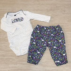 """Loved"" long sleeve onesie/pants outfit"